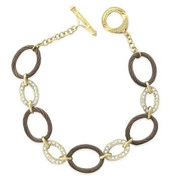 Charriol Celtique 18K Gold Steel Diamond Toggle Bracelet
