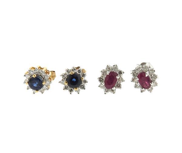 14k 10k Gold Diamond Sapphire Ruby Stud Earrings Lot of 2