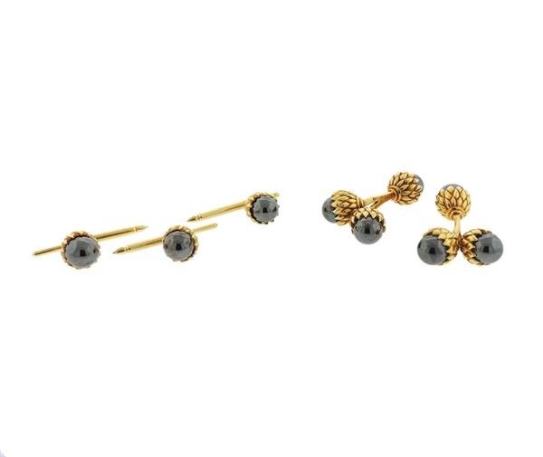 Tiffany & Co Schlumberger Hematite 18k Gold Acorn Cufflinks Stud Set