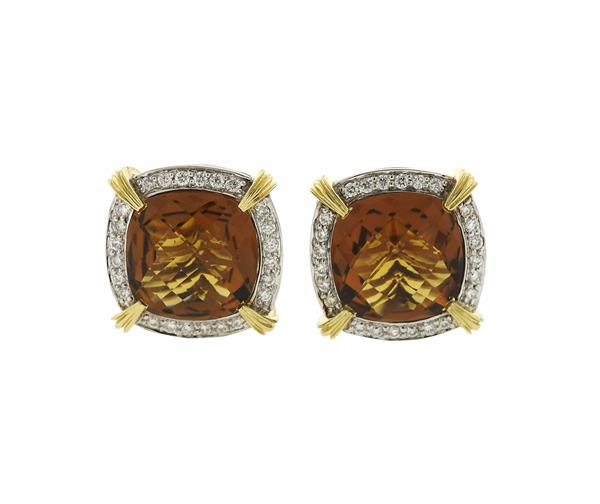 Charles Krypell 14k Gold Silver Diamond Citrine Earrings
