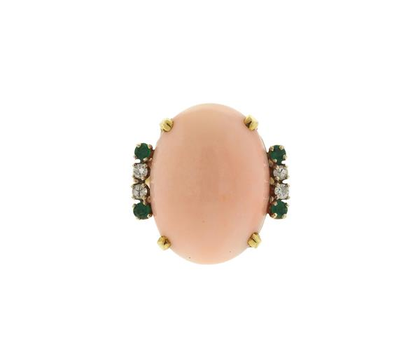 14k Gold Angel Skin Coral Diamond Emerald Ring