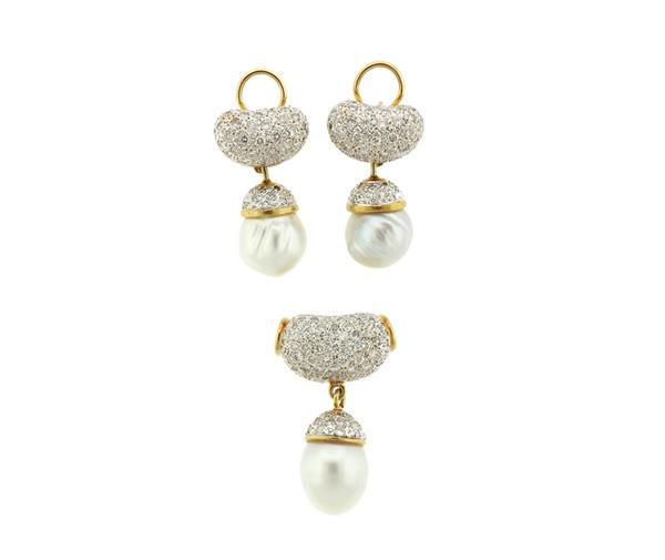 18k Gold South Sea Pearl Diamond Earrings Pendant Set