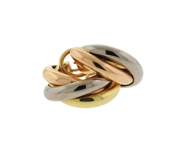 Cartier Trinity 18k Tri Color Gold Hoop Earrings