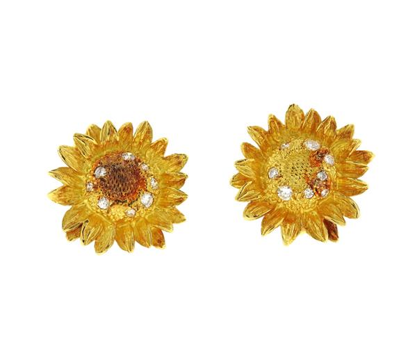 Asprey 18K Gold Diamond Sunflower Earrings