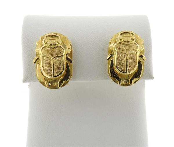 18K Gold Scarab Earrings