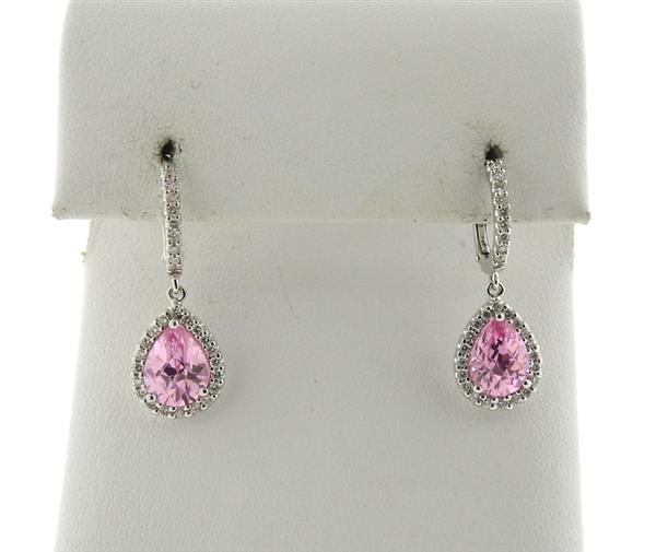 18k Gold Pink Stone Diamond Drop Earrings