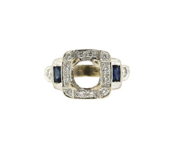 14K Gold Diamond Sapphire Engagement Ring Mounting