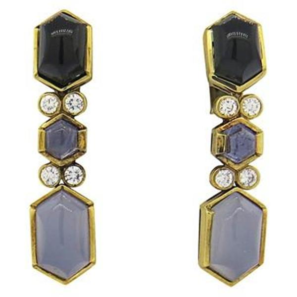 Fine Chalcedony Iolite Onyx Diamond 18k Gold Earrings