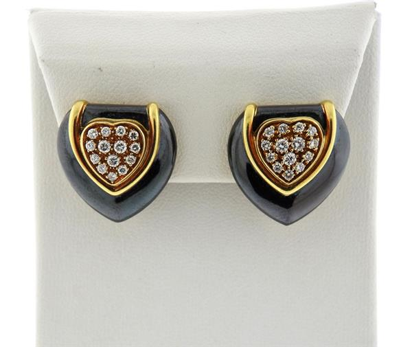 18K Gold Diamond Hematite Heart Earrings