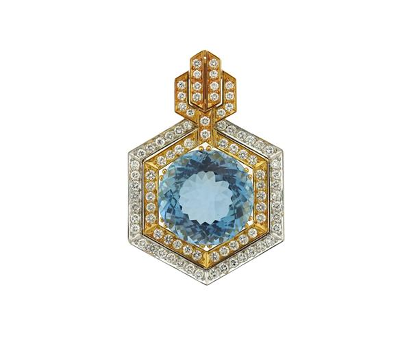 18k Gold Diamond 29.5ct Aquamarine Diamond Pendant