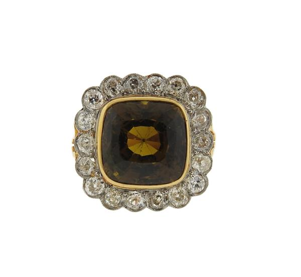 Antique  Gold Platinum Diamond 15ct Chrysoberyl Ring