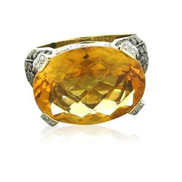 Levian Le Vian 14K Gold Diamond 10ct Citrine Ring