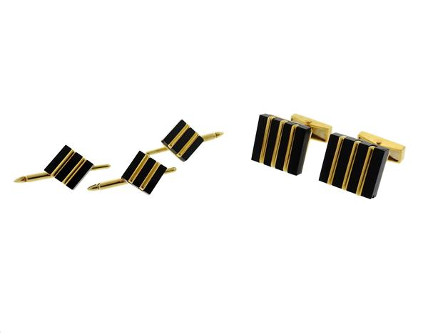 18K Gold Onyx Cufflinks Studs Set