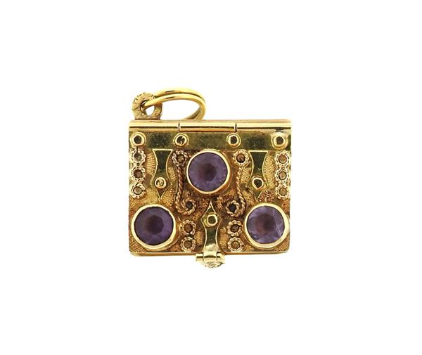 Italian 18K Gold Purple Stone Book Charm