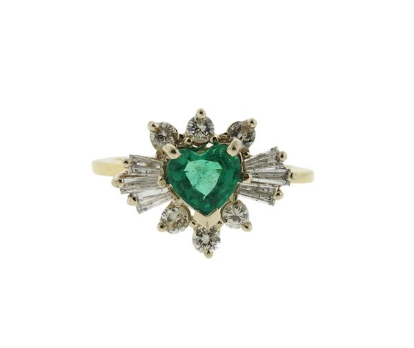 14k Gold Emerald Diamond Heart Ring