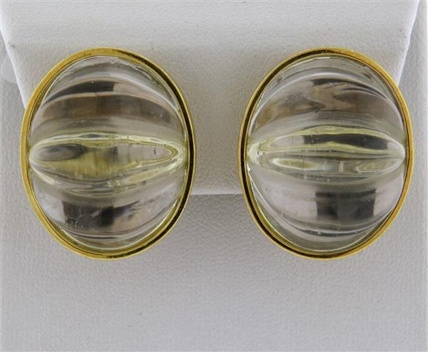 Large Tambetti Carved Crystal 18k Gold Earrings