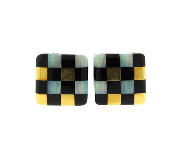 1980s Tiffany & Co Opal Onyx Inlay Checkered Earrings
