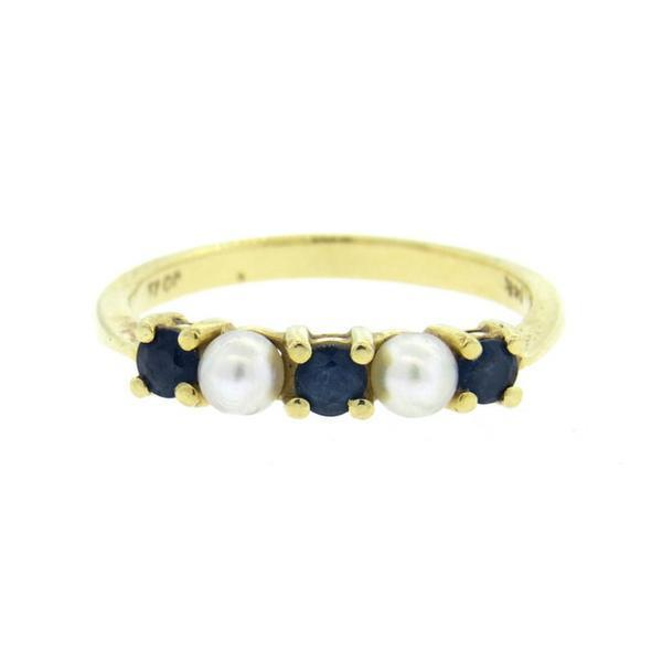 Vintage Tiffany & Co 14K Gold Pearl Sapphire Ring