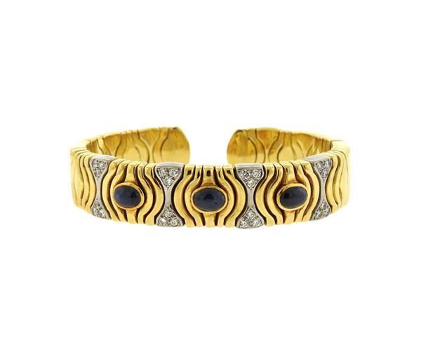 18k Gold Sapphire Diamond Cuff Bracelet