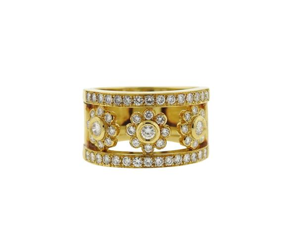 18k Gold Diamond Flower Motif Wide Band Ring