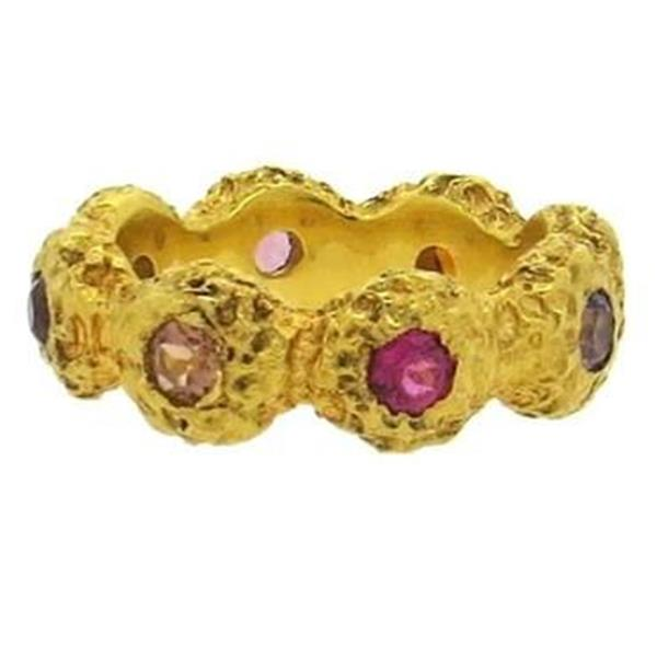 Naturalistic Multicolor Sapphire 18k Gold Band Ring