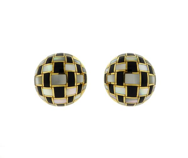 Tiffany & Co 18K Gold Mother of Pearl Onyx Checkerboard Earrings