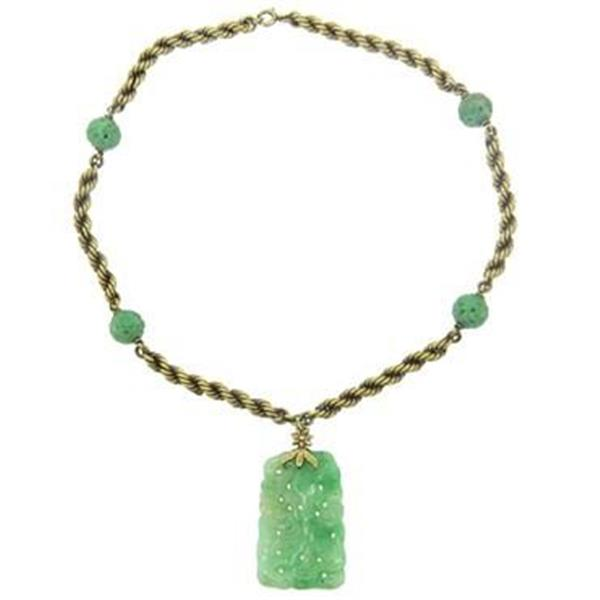 Mid Century Carved Jade 14k Gold Necklace