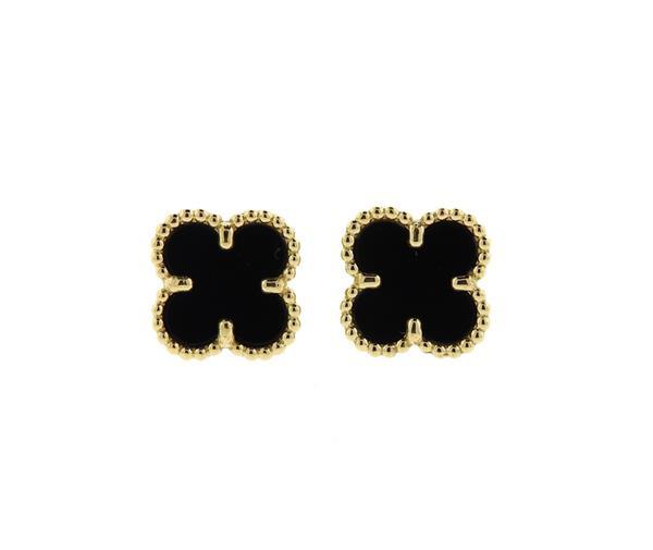 Van Cleef & Arpels VCA Sweet Alhambra Onyx Earrings