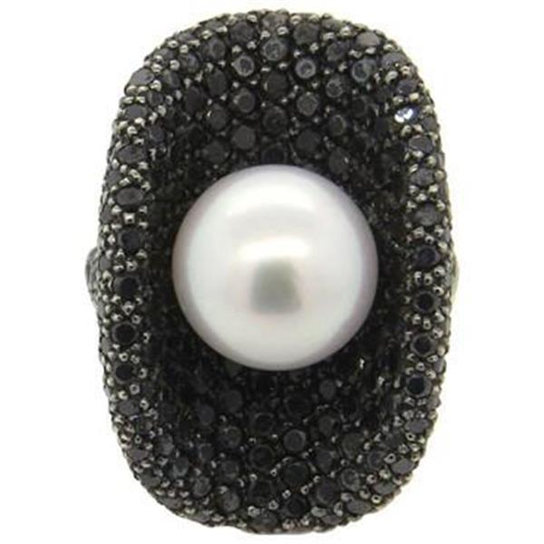 South Sea Pearl Black Diamond 18k Gold Cocktail Ring