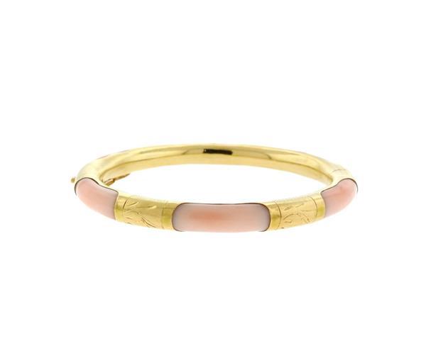 14k Gold Angel Skin Coral Bangle Bracelet