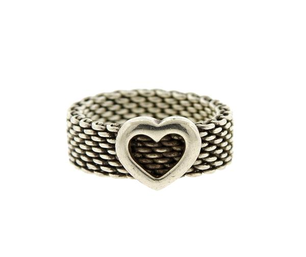 Tiffany & Co Sterling Somerset Mesh Heart Ring