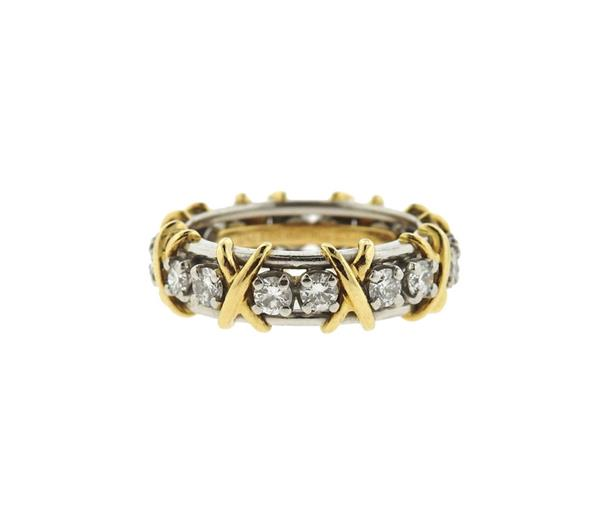 Tiffany & Co Schlumberger 18k Gold Platinum Diamond Band Ring