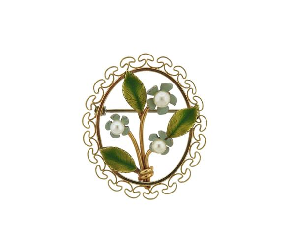 14k Gold Pearl Enamel Flower Brooch Pin
