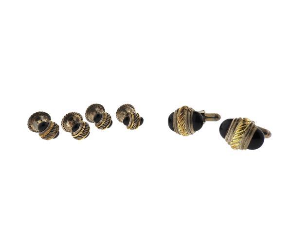 David Yurman 14k Gold Silver Onyx Cufflinks Stud Set