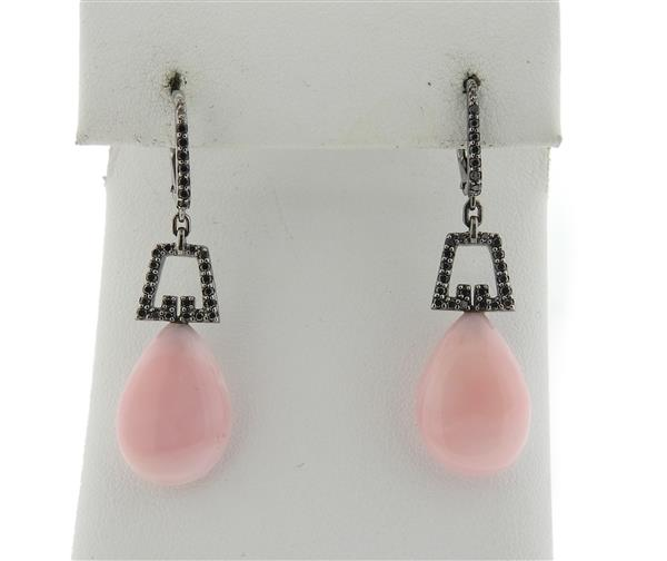 Ivanka Trump 18k Gold Black Diamond Pink Gemstone Drop Earrings