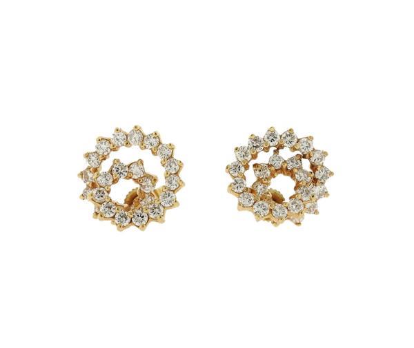 14K Gold Diamond Spiral Earrings
