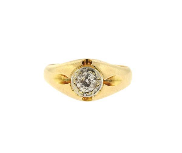 Antique 18k Gold Diamond Gypsy Ring