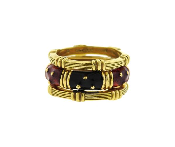 Hidalgo 18k Gold Enamel 3 Band Ring Set