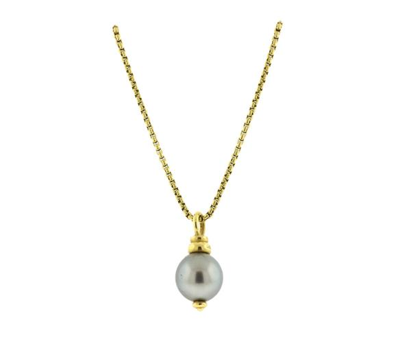 David Yurman 18K Gold Tahitian Pearl Pendant Necklace