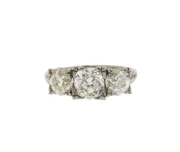Antique Old Mine Cut Diamond Platinum 3 Stone Ring