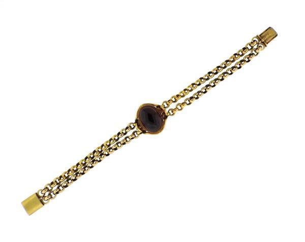 1850s Victorian 18k Gold Garnet Cabochon Bracelet