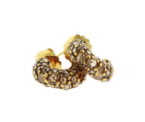 John Hardy 18K Gold Fancy Diamond Hoop Earrings