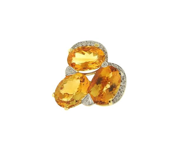 18K Gold  Diamond Citrine Cocktail Ring