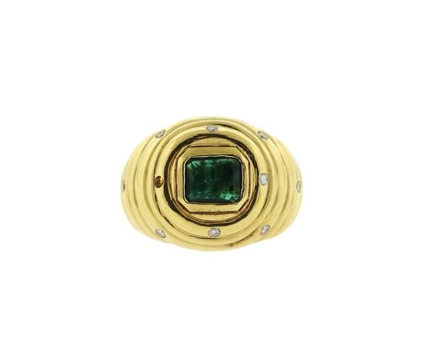 18k Gold Green Stone Diamond Dome Ring