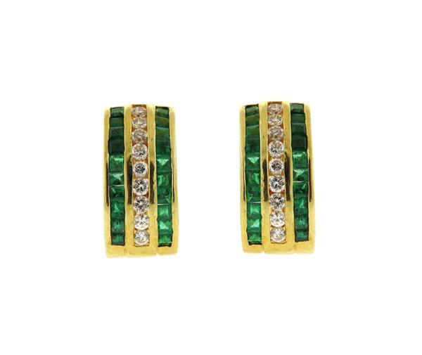 18k Gold Green Stone Diamond Half Hoop Earrings