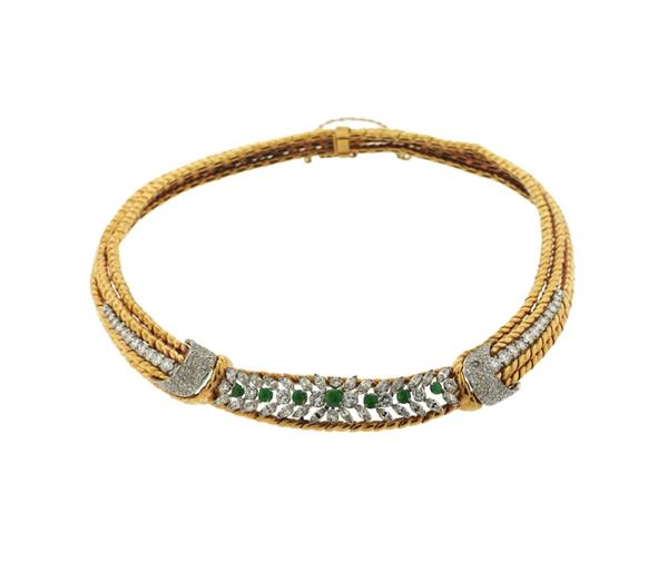 Gubelin 18k Gold Diamond Green Stone Necklace