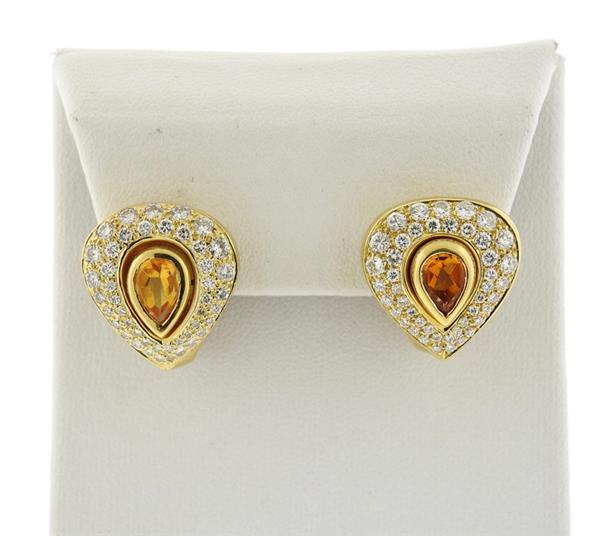 18k Gold Diamond Citrine Earrings