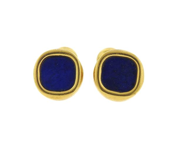 Tiffany & Co 18k Gold Lapis Cufflinks