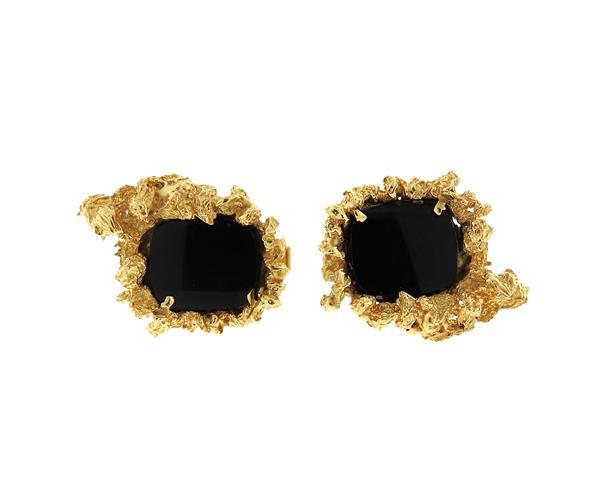 1970s 14k Gold Naturalistic Onyx Cufflinks