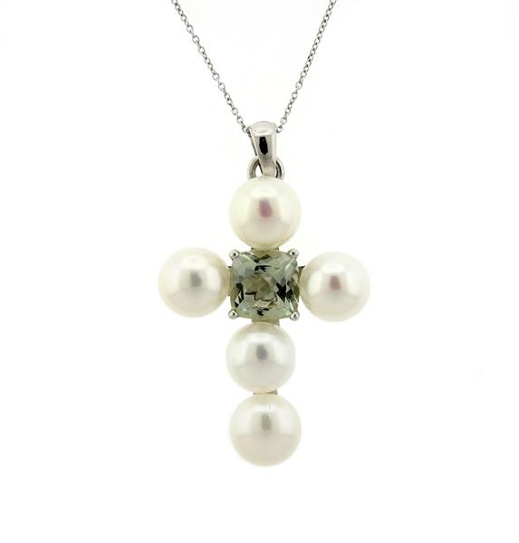 Superoro 18K Gold Pearl Amethyst Cross Pendant Necklace
